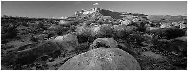 Boulders and Guadalupe range. Guadalupe Mountains National Park (Panoramic black and white)