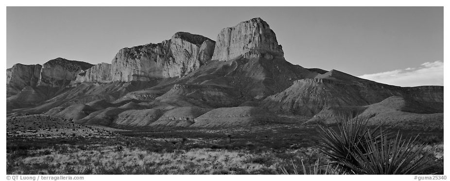 El Capitan cliffs at sunset. Guadalupe Mountains National Park (black and white)