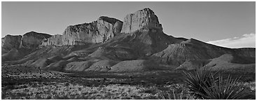 El Capitan cliffs at sunset. Guadalupe Mountains National Park (Panoramic black and white)