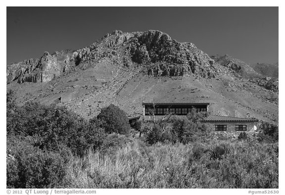 Visitor center and Hunter Peak. Guadalupe Mountains National Park (black and white)