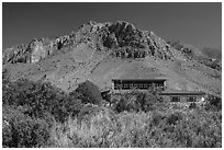 Visitor center and Hunter Peak. Guadalupe Mountains National Park, Texas, USA. (black and white)