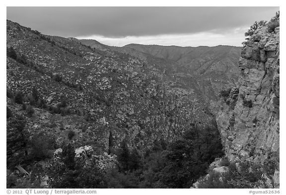 Cliffs and forested slopes, approaching storm. Guadalupe Mountains National Park (black and white)