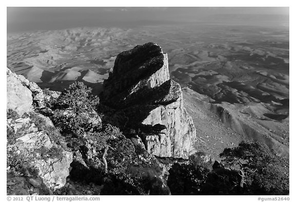 El Capitan and West Texas plain from Guadalupe Peak. Guadalupe Mountains National Park (black and white)
