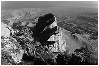 El Capitan and West Texas plain from Guadalupe Peak. Guadalupe Mountains National Park ( black and white)
