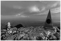Cairn and monument on summit of Guadalupe Peak. Guadalupe Mountains National Park ( black and white)