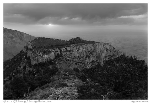 Cloudy sunrise from flanks of Guadalupe Peak. Guadalupe Mountains National Park (black and white)