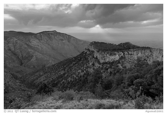 Hunter Peak and Guadalupe Peak shoulder, stormy sunrise. Guadalupe Mountains National Park (black and white)