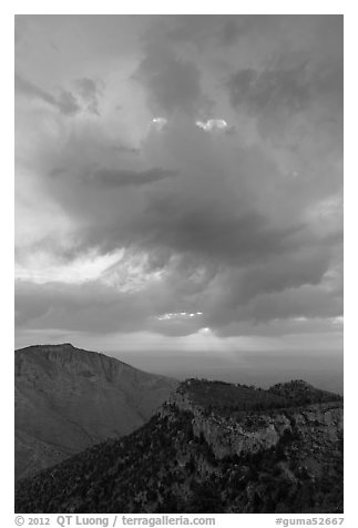 Dark clouds at sunrise over mountains. Guadalupe Mountains National Park (black and white)