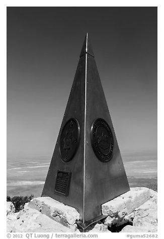 Stainless steel monument placed by American Airlines in the 1950s on top of Guadalupe Peak. Guadalupe Mountains National Park (black and white)