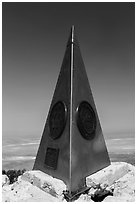 Stainless steel monument placed by American Airlines in the 1950s on top of Guadalupe Peak. Guadalupe Mountains National Park ( black and white)