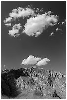 Clouds above Hunter Peak. Guadalupe Mountains National Park ( black and white)