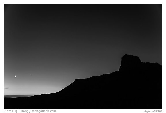 El Capitan profile and moon at dusk. Guadalupe Mountains National Park (black and white)