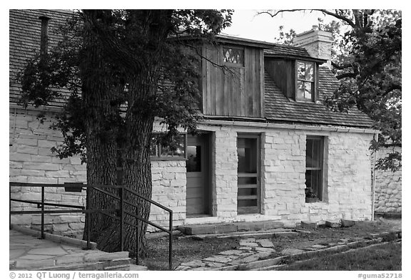 Frijole Ranch historic museum. Guadalupe Mountains National Park (black and white)