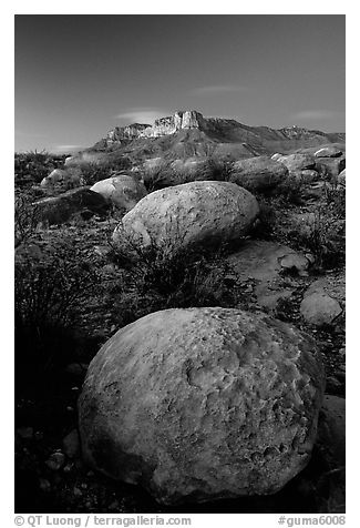 Limestone boulders and El Capitan from the South, dusk. Guadalupe Mountains National Park (black and white)