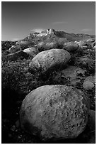 Limestone boulders and El Capitan from the South, dusk. Guadalupe Mountains National Park ( black and white)