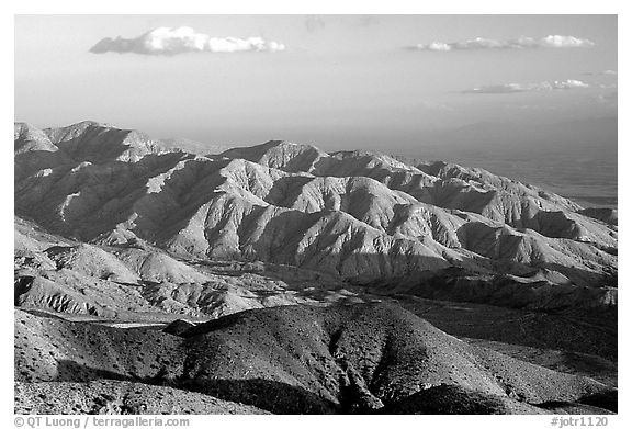 Keys view, sunset. Joshua Tree National Park (black and white)