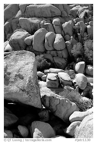 Jumble of rocks in Hidden Valley. Joshua Tree National Park (black and white)