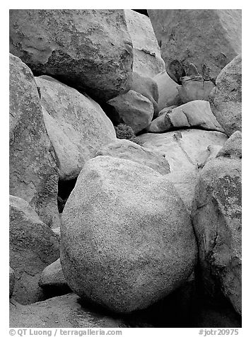 Boulders close-up, Hidden Valley. Joshua Tree National Park (black and white)