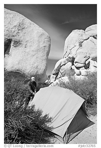 Camper and tent, Hidden Valley Campground. Joshua Tree National Park (black and white)