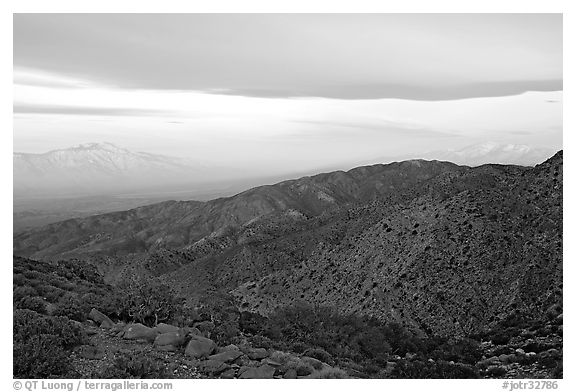 Mt San Jacinto and Signal Mountain from Keys View, sunrise. Joshua Tree National Park (black and white)