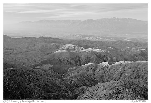 Little Sand Bernardino Mountains from Keys View, early morning. Joshua Tree National Park (black and white)
