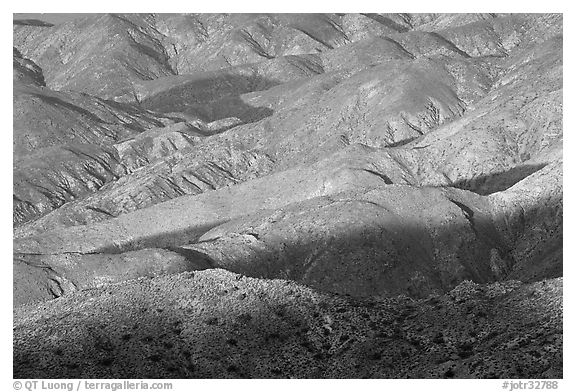 Eroded hills below Keys View, early morning. Joshua Tree National Park (black and white)