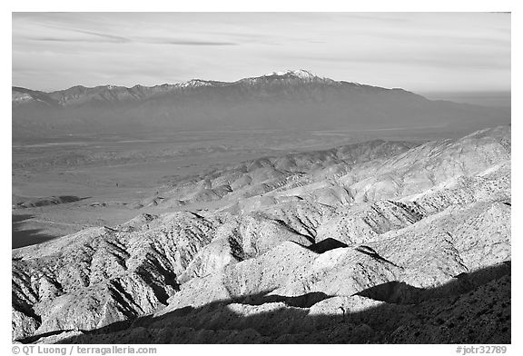 Valley and hills from Keys View, early morning. Joshua Tree National Park (black and white)