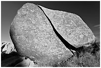 Boulder split by crack. Joshua Tree National Park ( black and white)