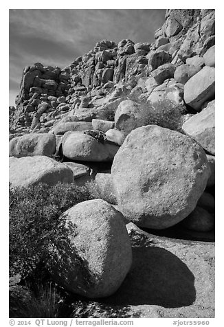 Jumble of rocks, Hidden Valley. Joshua Tree National Park (black and white)