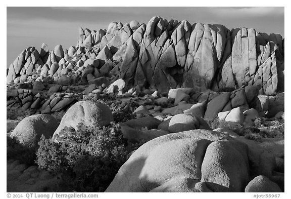 Rock wall with marble rocks at sunset, Jumbo Rocks. Joshua Tree National Park (black and white)