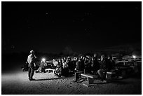 Ranger speaking during nightime program. Joshua Tree National Park ( black and white)