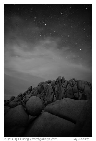 Geometrically shaped rocks and stars at night. Joshua Tree National Park (black and white)