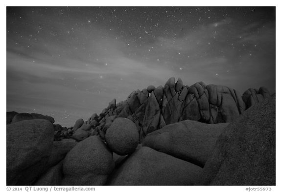 Geometrically shaped rocks and night sky. Joshua Tree National Park (black and white)