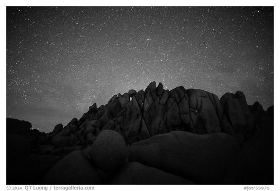 Geometrically shaped rocks and clear starry sky. Joshua Tree National Park (black and white)