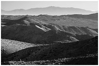 San Bernardino Mountains from Ryan Mountain. Joshua Tree National Park ( black and white)