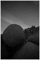 Jumbo Rocks boulders at night. Joshua Tree National Park ( black and white)