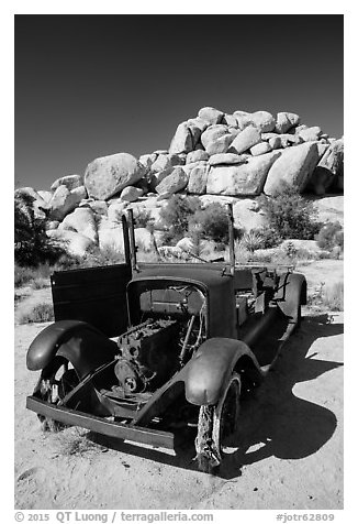Rusting car near Wall Street Mill. Joshua Tree National Park (black and white)