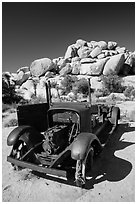 Rusting car near Wall Street Mill. Joshua Tree National Park ( black and white)