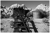 Wall Street Mill. Joshua Tree National Park ( black and white)