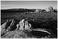 View from top of rock over Joshua Tree plain. Joshua Tree National Park ( black and white)