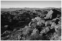Boulders at base of Mastodon Peak, sunrise. Joshua Tree National Park ( black and white)