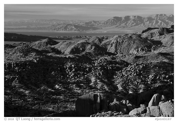 Boulder, and distant Salton Sean. Joshua Tree National Park (black and white)