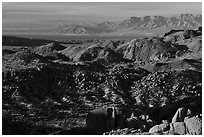 Boulder, and distant Salton Sean. Joshua Tree National Park ( black and white)