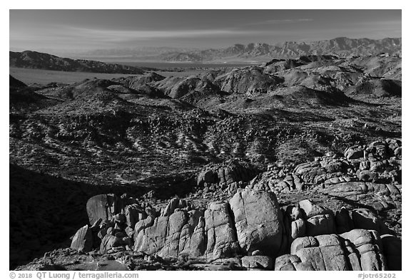 View over boulders from Mastodon Peak. Joshua Tree National Park (black and white)