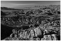 View over boulders from Mastodon Peak. Joshua Tree National Park ( black and white)