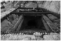 Entrance shaft of Mastodon Mine. Joshua Tree National Park ( black and white)