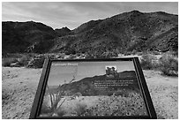 Colorado Desert interpretive sign. Joshua Tree National Park ( black and white)