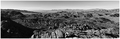 View from Mastodon Peak. Joshua Tree National Park (Panoramic black and white)