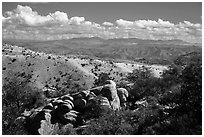 Boulders, Rincon Mountains foothills. Saguaro National Park ( black and white)