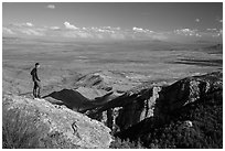 Visitor looking, Rincon Peak. Saguaro National Park ( black and white)
